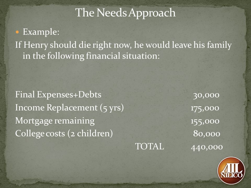 The Needs Approach Example: