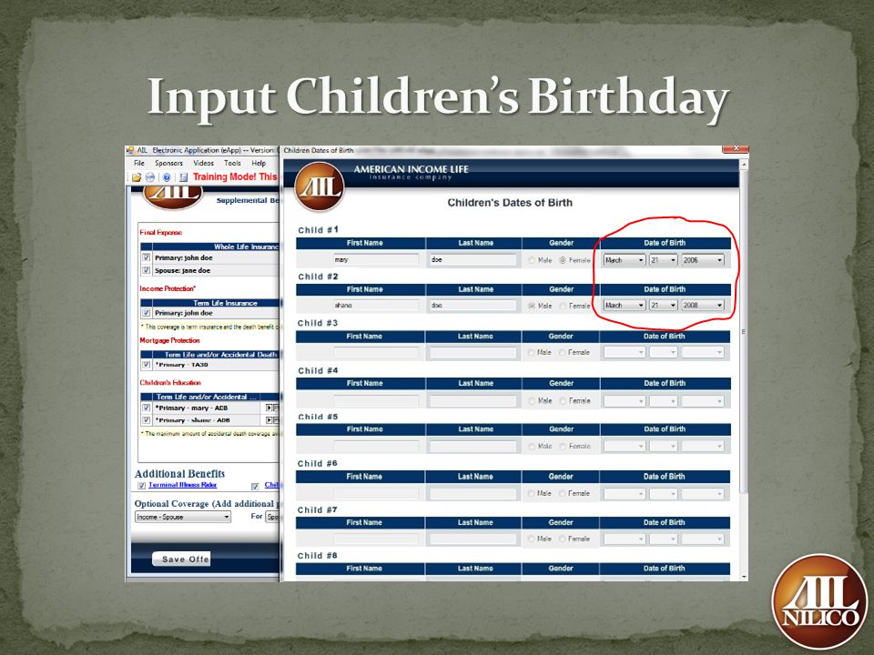 Input Children's Birthday