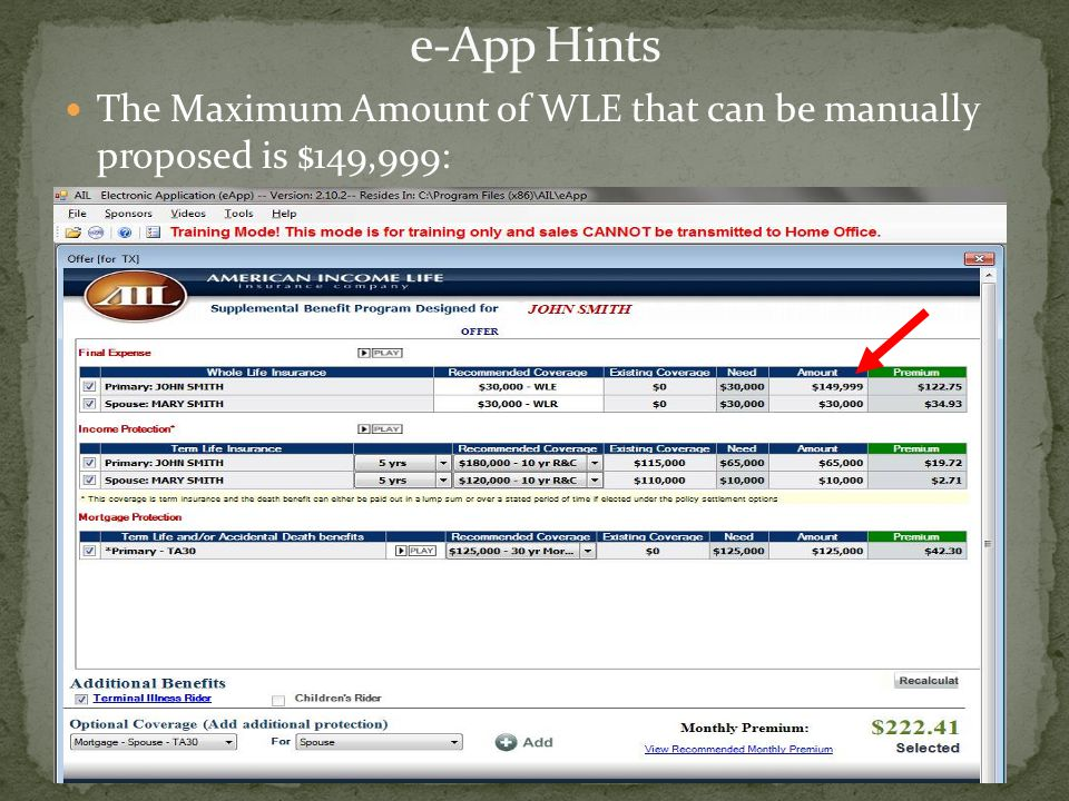e-App Hints The Maximum Amount of WLE that can be manually proposed is $149,999: