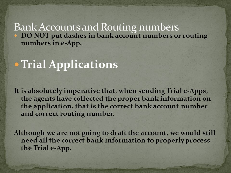 Bank Accounts and Routing numbers