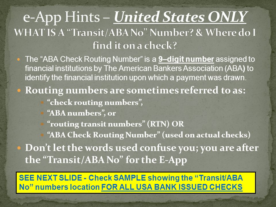 e-App Hints – United States ONLY WHAT IS A Transit/ABA No Number