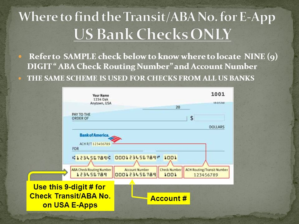 Where to find the Transit/ABA No. for E-App US Bank Checks ONLY