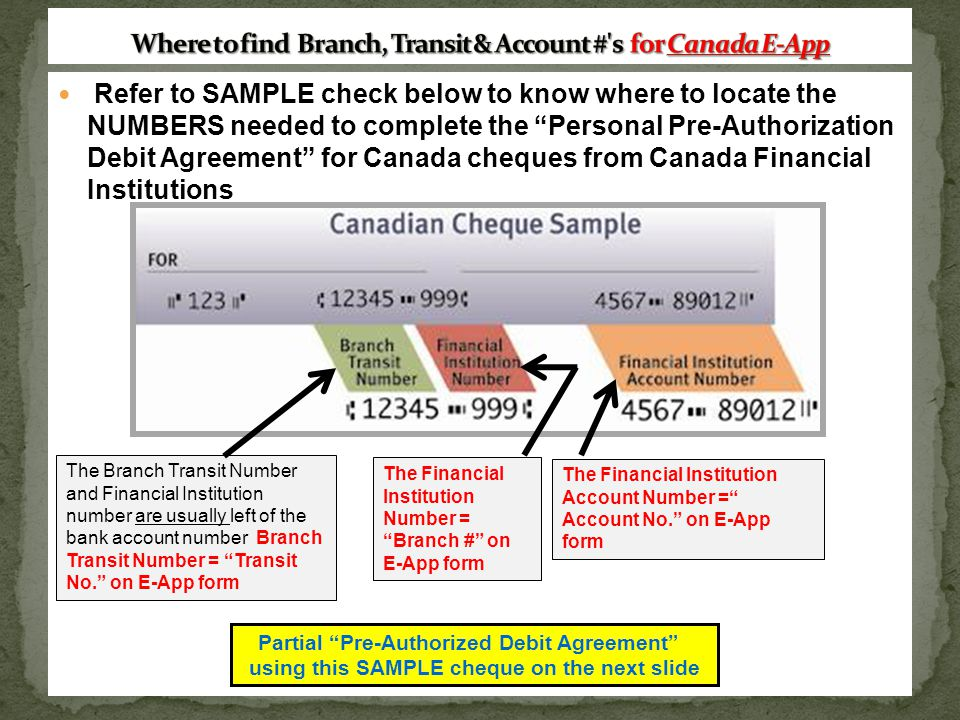Where to find Branch, Transit & Account # s for Canada E-App