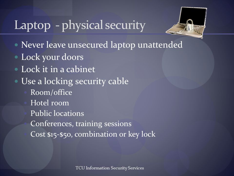 Laptop - physical security