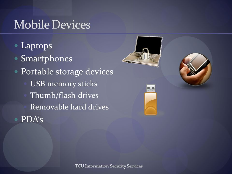 Mobile Devices Laptops Smartphones Portable storage devices PDA's
