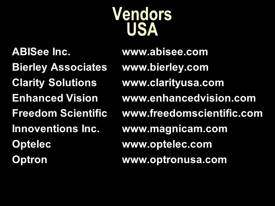 Vendors USA ABISee Inc. www.abisee.com