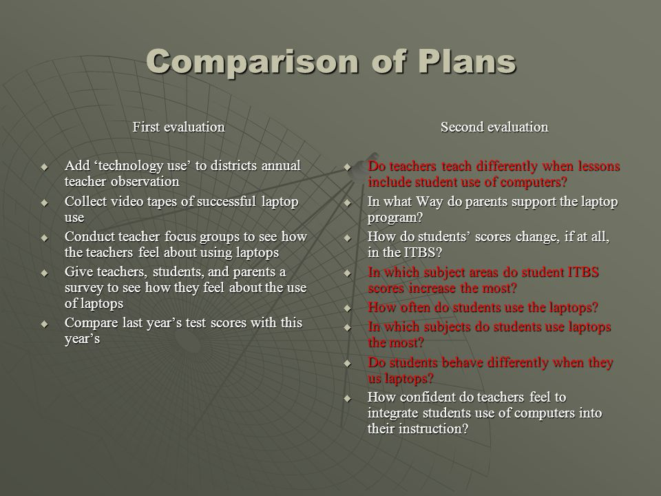 Comparison of Plans First evaluation