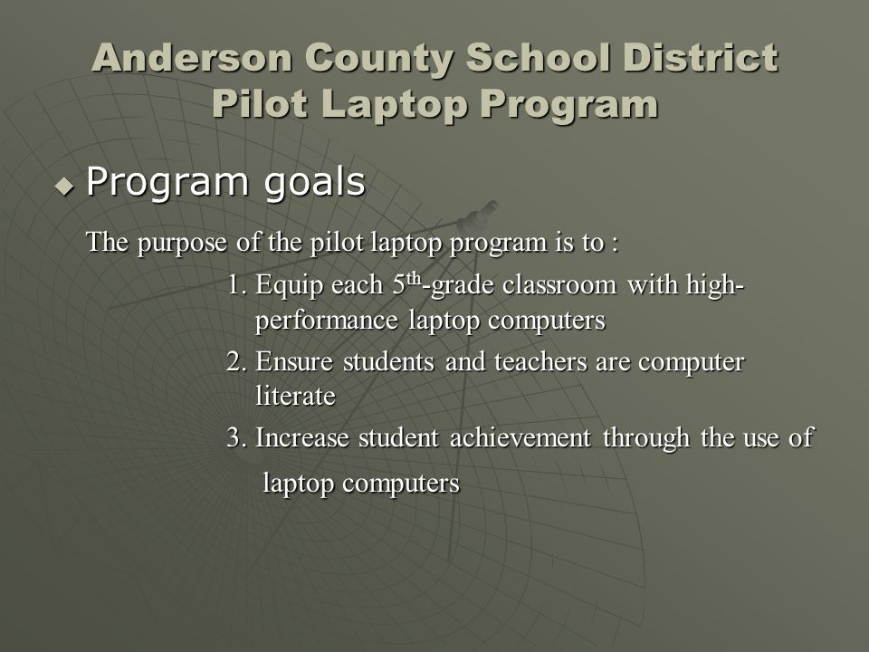 Anderson County School District Pilot Laptop Program