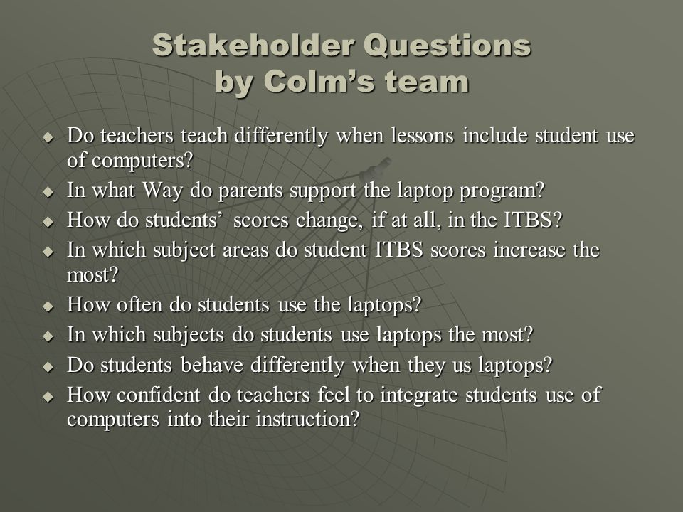 Stakeholder Questions by Colm's team