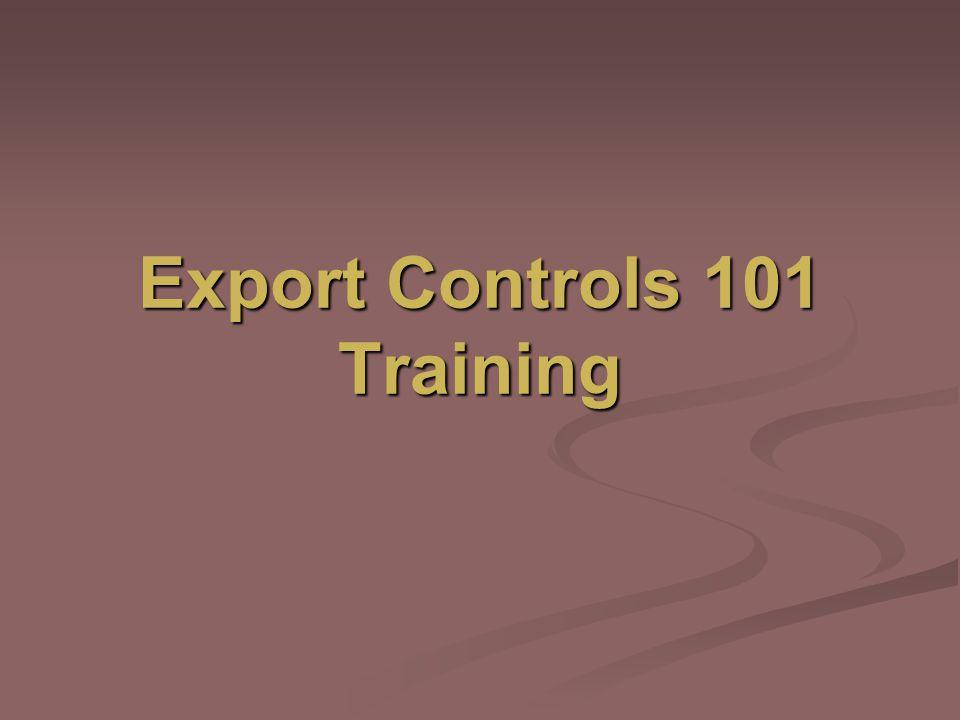 Export Controls 101 Training