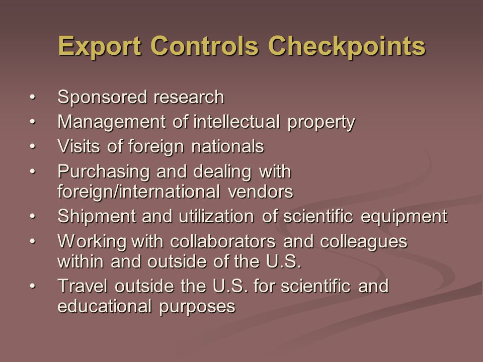 Export Controls Checkpoints