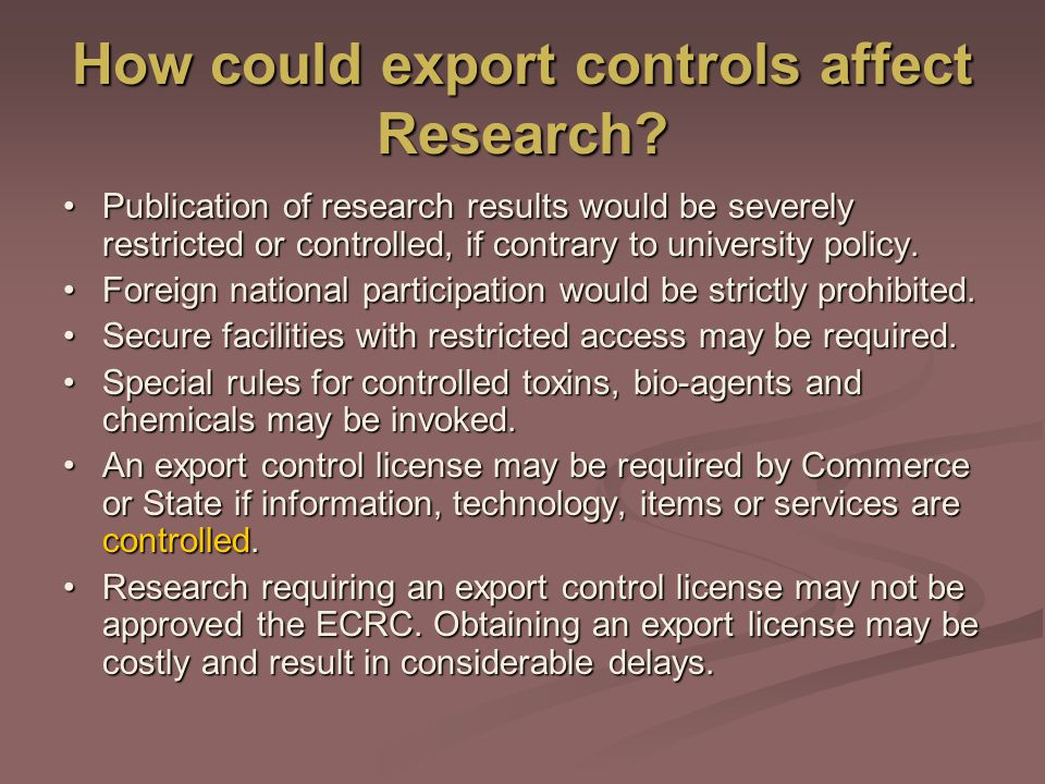 How could export controls affect Research