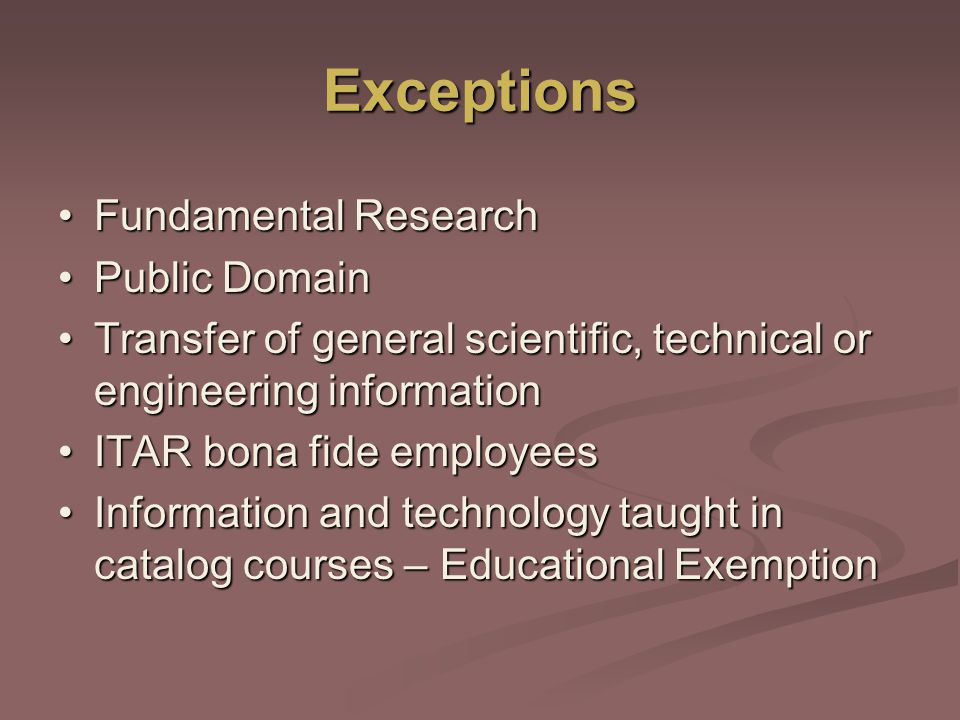 Exceptions Fundamental Research Public Domain