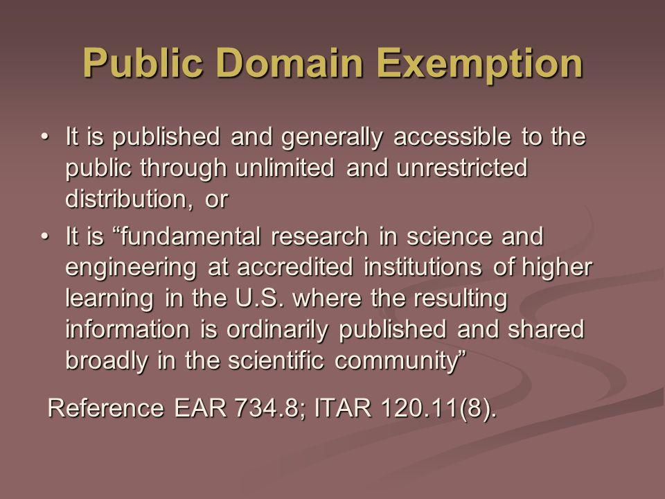 Public Domain Exemption