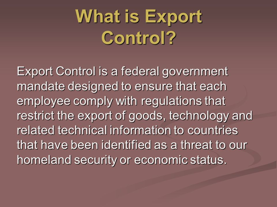 What is Export Control