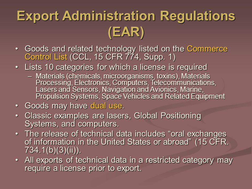 Export Administration Regulations (EAR)