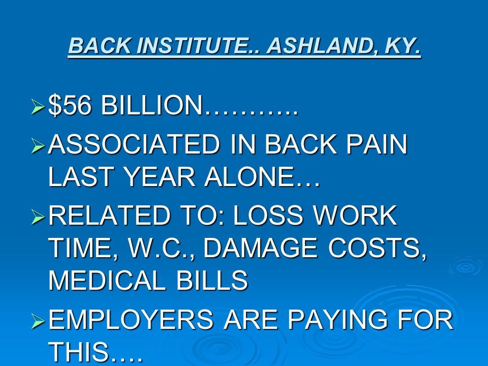 BACK INSTITUTE.. ASHLAND, KY.