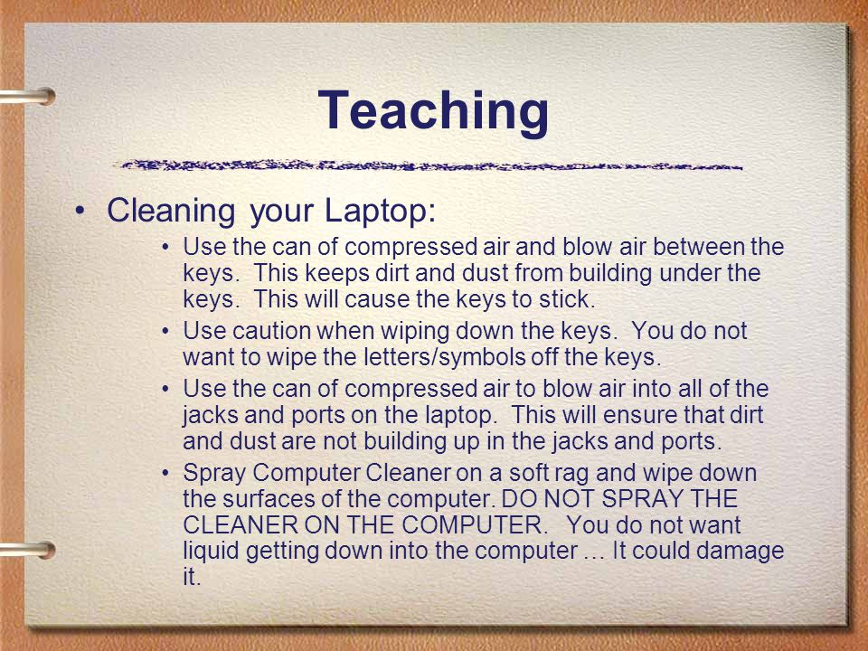 Teaching Cleaning your Laptop: