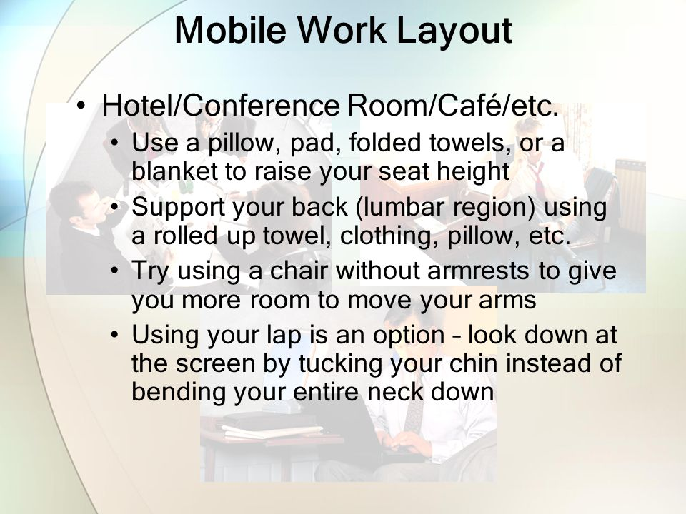 Mobile Work Layout Hotel/Conference Room/Café/etc.