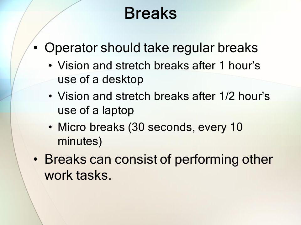 Breaks Operator should take regular breaks