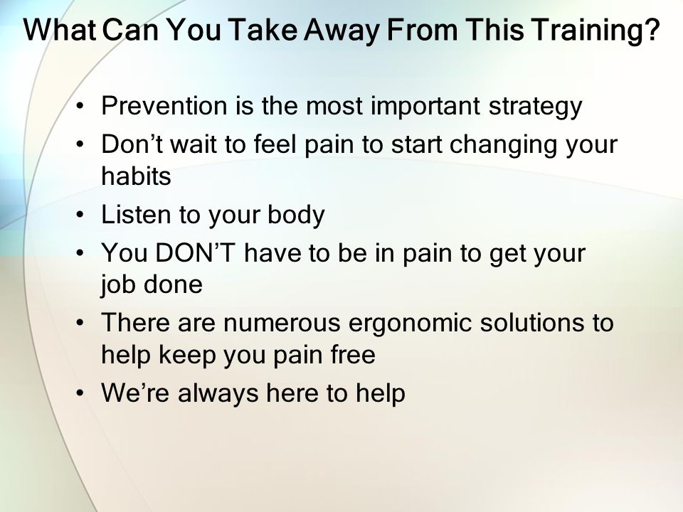 What Can You Take Away From This Training