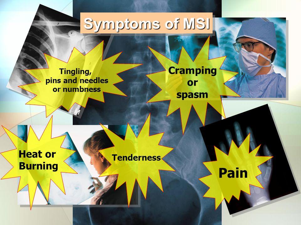 Symptoms of MSI Pain Cramping or spasm Heat or Burning Tenderness