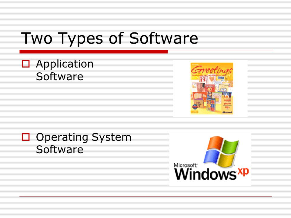 Two Types of Software Application Software Operating System Software