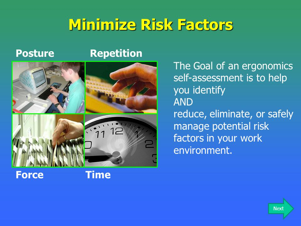 Minimize Risk Factors Repetition Posture Time Force
