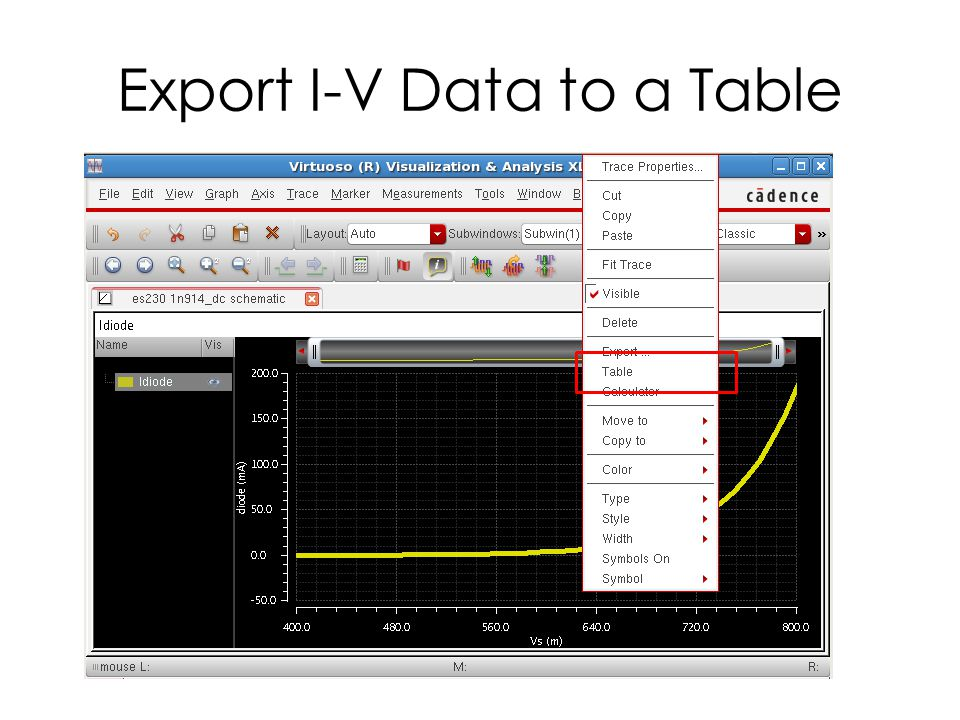 Export I-V Data to a Table