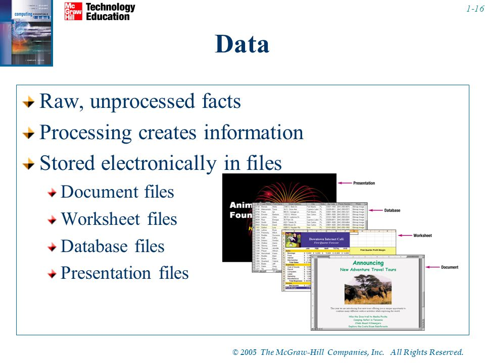 Data Raw, unprocessed facts Processing creates information