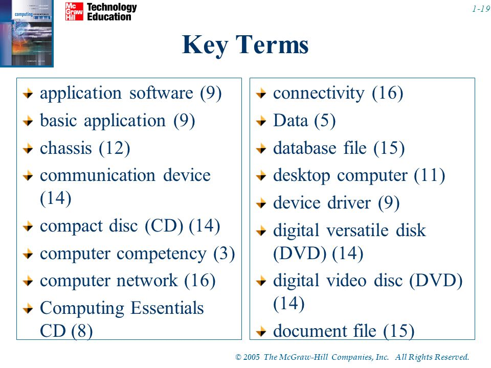 Key Terms application software (9) basic application (9) chassis (12)