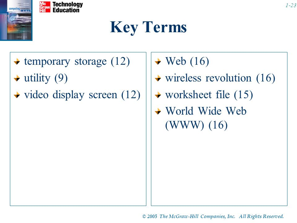 Key Terms temporary storage (12) utility (9) video display screen (12)