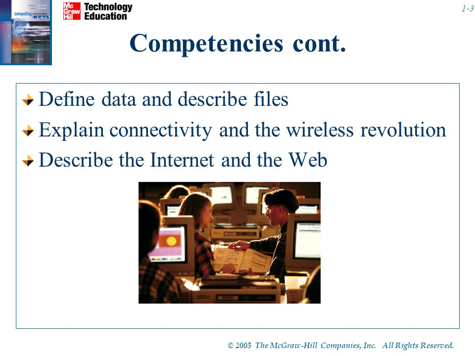 Competencies cont. Define data and describe files