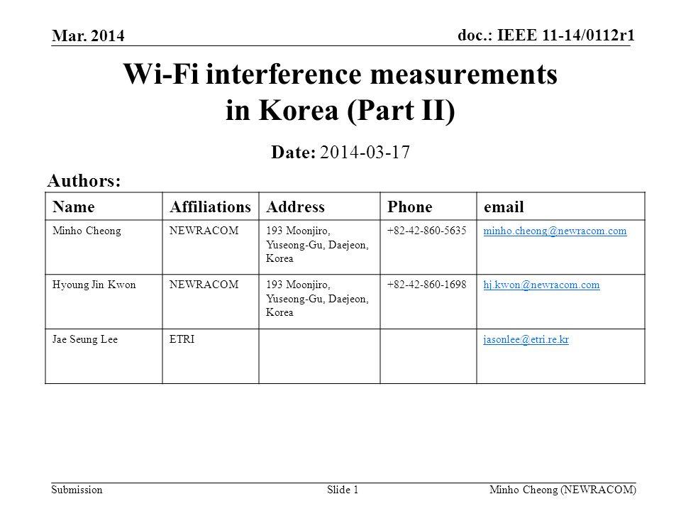 Wi-Fi interference measurements in Korea (Part II)