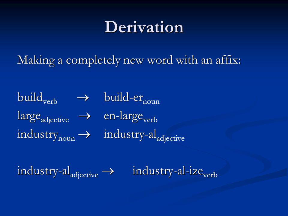 Derivation Making a completely new word with an affix: