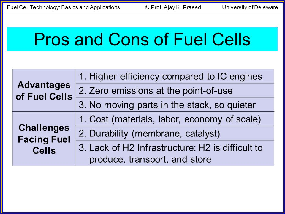 Advantages of Fuel Cells Challenges Facing Fuel Cells