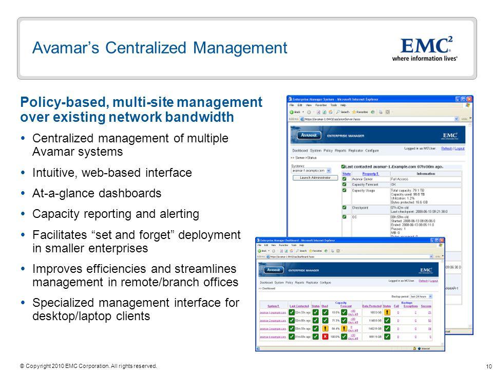 Avamar's Centralized Management