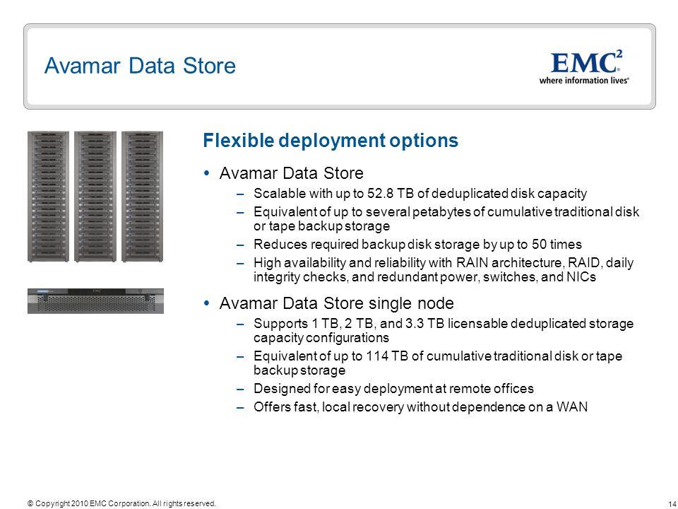 Avamar Data Store Flexible deployment options Avamar Data Store