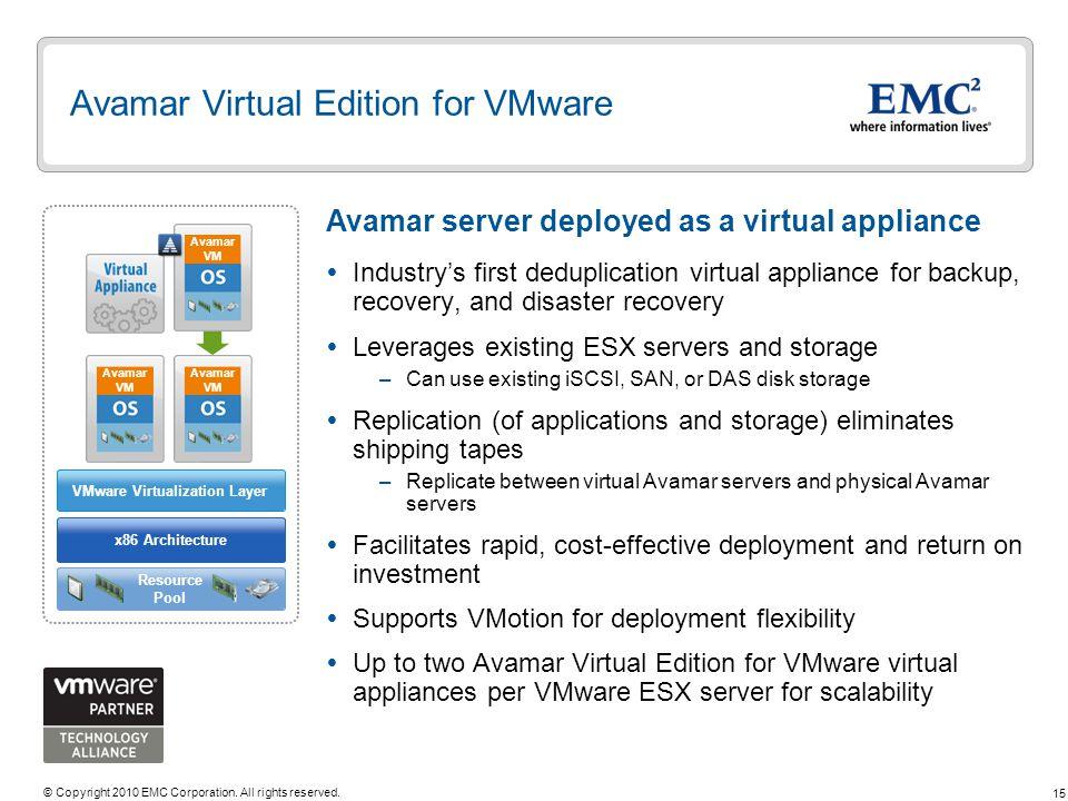 Avamar Virtual Edition for VMware