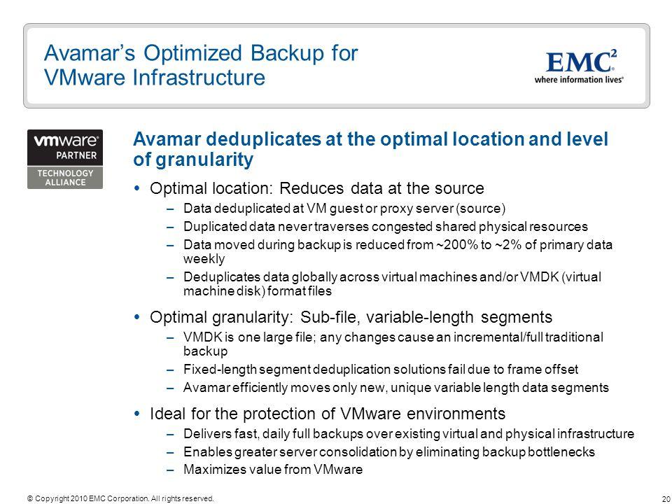 Avamar's Optimized Backup for VMware Infrastructure