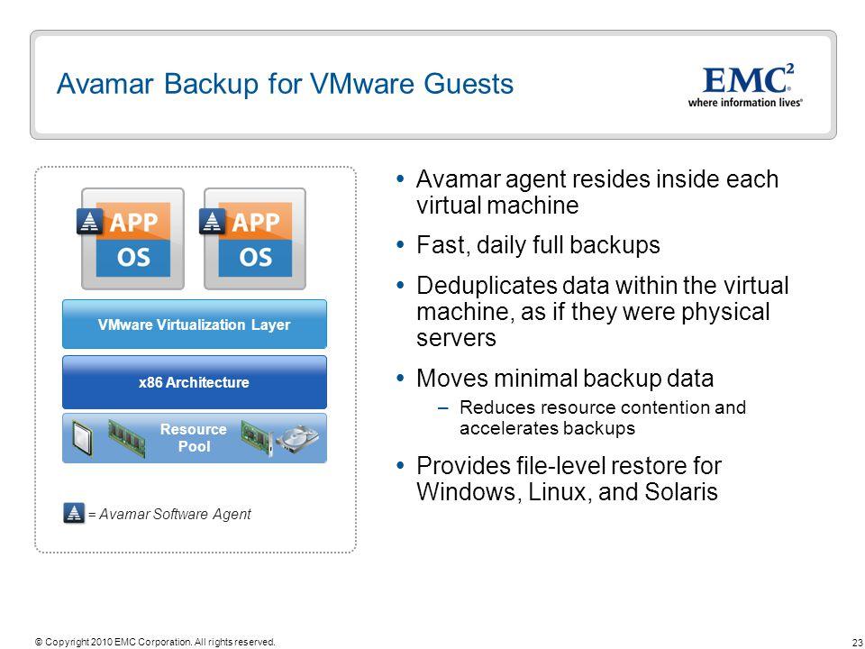 Avamar Backup for VMware Guests