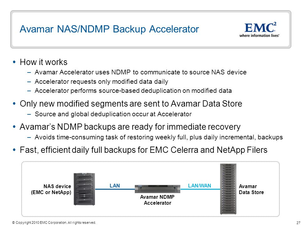 Avamar NAS/NDMP Backup Accelerator