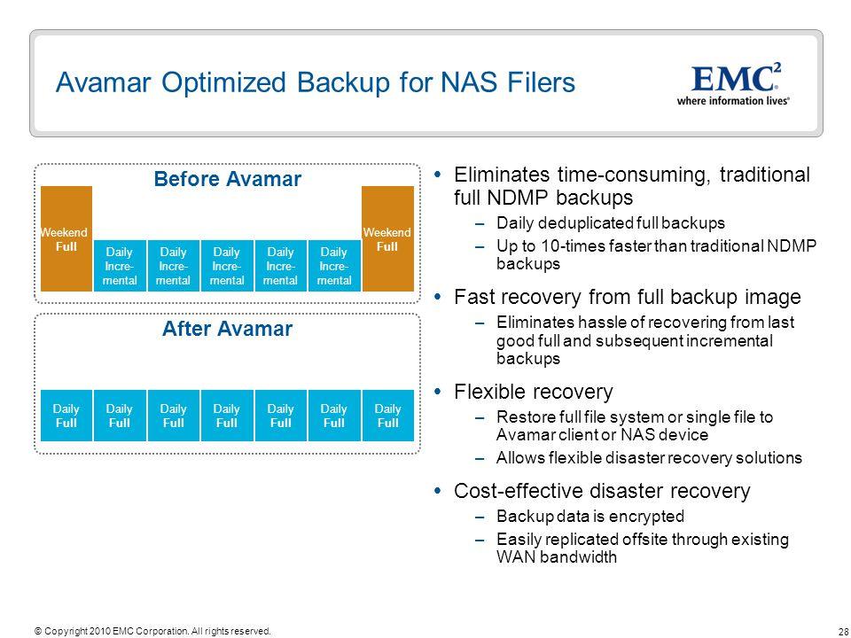 Avamar Optimized Backup for NAS Filers