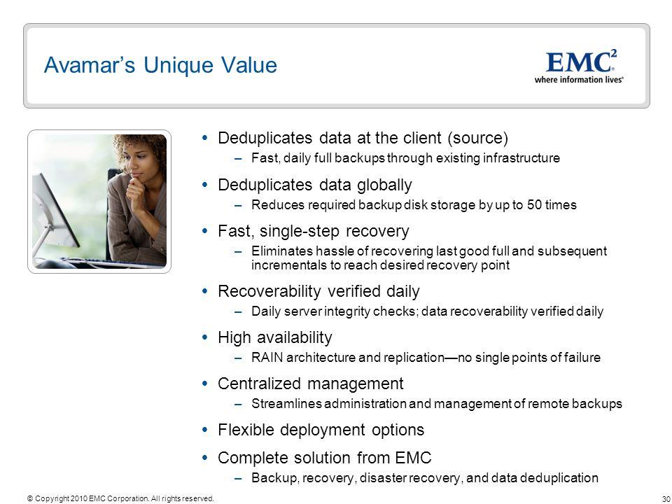 Avamar's Unique Value Deduplicates data at the client (source)