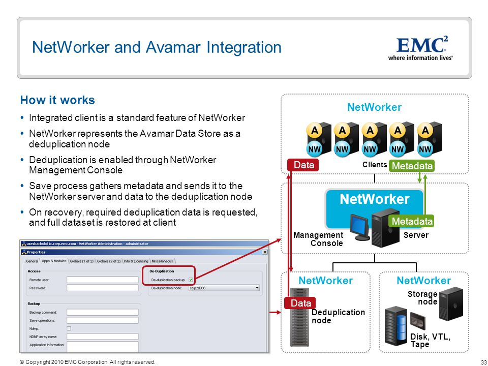NetWorker and Avamar Integration