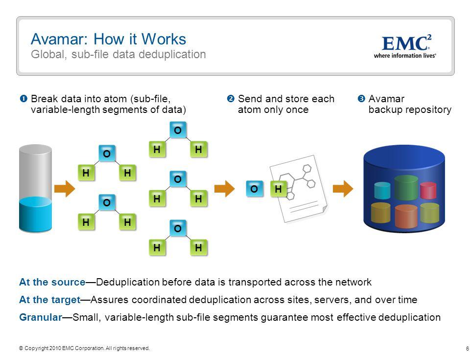 Avamar: How it Works Global, sub-file data deduplication
