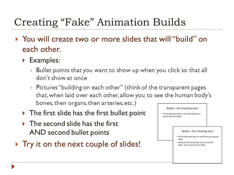 Creating Fake Animation Builds