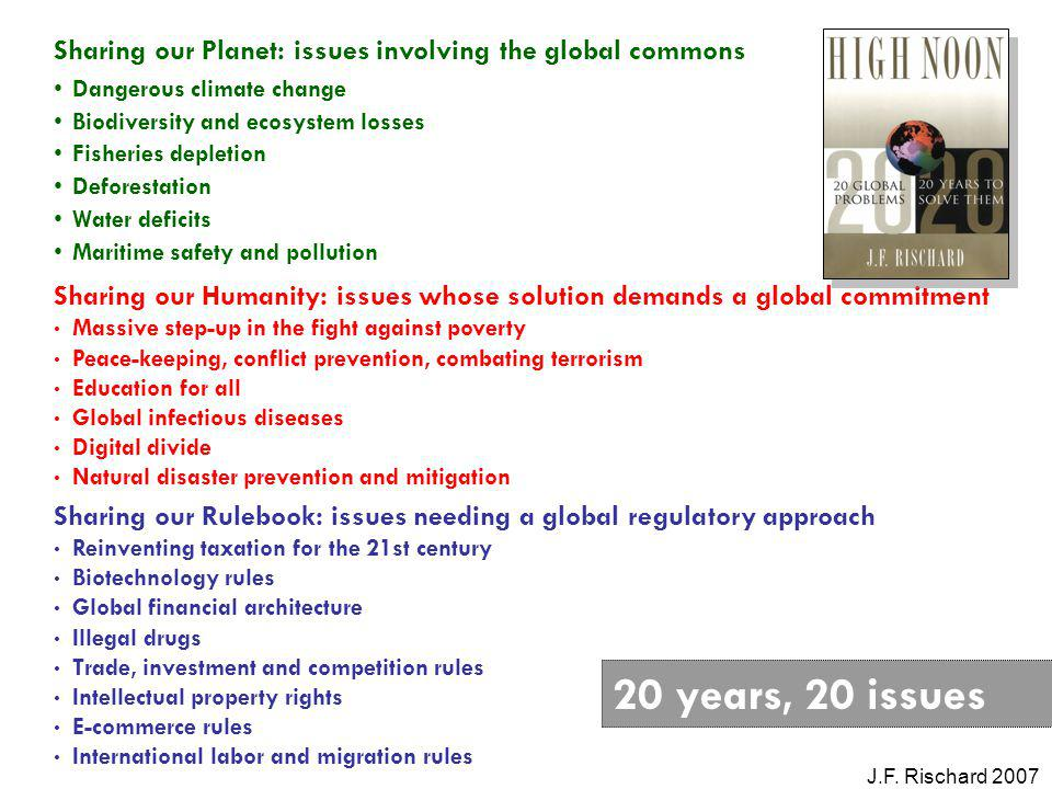 Sharing our Planet: issues involving the global commons