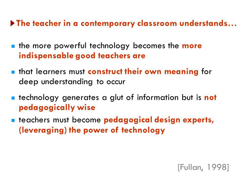 The teacher in a contemporary classroom understands…