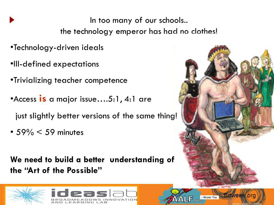 Technology-driven ideals Ill-defined expectations